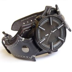Mens Watch, Unique Watch For Men, Shark Leather Watch, Vintage Black Leather Watch