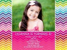 Rainbow Waves - Birthday Party Invitations in Fuchsia | Hello Little One