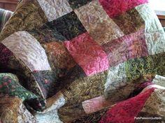 Pomegranate Batik Patchwork Lap Quilt or by PatsPassionQuilteds, $215.00