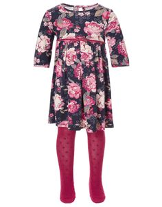 My Design Baby Jemima Floral Dress with Tights | Navy | Monsoon
