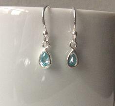 Blue Aquamarine Earrings, Sterling Silver Aquamarine Earrings, March Birthstone Jewellery, Aquamarine Jewelry Gift For Her, Dangle Earrings by MairiJewellery on Etsy