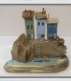Second of two new sculptures available from my etsy shop! Driftwood Sculpture, Driftwood Art, Wooden Hut, Wooden Houses, Wooded Landscaping, Wood Scraps, Wood Creations, Salvaged Wood, Deco Design