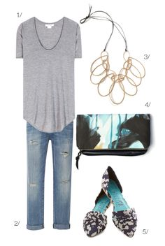 Casual Chic| Serafini Amelia| street style inspired: jeans, t-shirt, and a statement necklace // via megan auman // click for outfit details