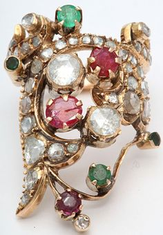 1stdibs | Rose Diamond & Colored Stone Index Ring