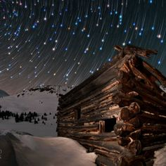 Starry starry night...stars and old abondoned cabins! two of my favorites!