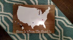 Home Is Where The Heart Is with Hawaii | US Map | Wood Sign | Wall Hangings | Wall Sayings | Places Lived | Military Family | Family Afar by DanielleGraceDesign1 on Etsy