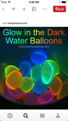 Should totally do this for my bday. Throw the water balloons and get the glow stick inside PERFECT!!!! Like capture the glowstick