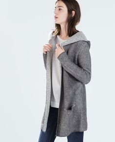 ZARA - WOMAN - HOODED KNIT CARDIGAN