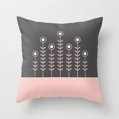 9 colours, SPRING SHOOTS, Minimalist Flowers pillow cover, Nordic Cushion cover, Indoor or Outdoor pillow cover, Rose Quartz pillow cover by ThingsThatSing on Etsy
