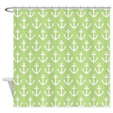 Anchor Green Patterned Shower Curtain for