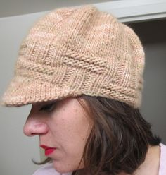"""An easy newsboy cap knit from bottom up with brim picked up afterwards"""