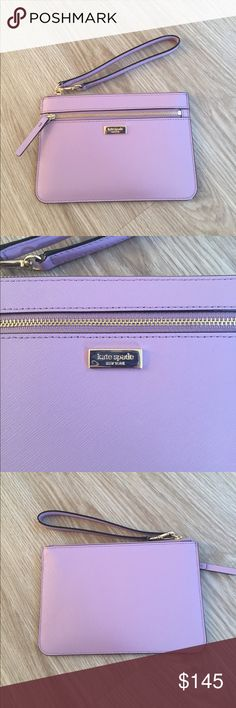 "NWT Kate spade ""Tinie"" wristlet New with tags Kate spade ""tinie"" wristlet. Color is lilac petal. Wristlet has a zippered pocket on the from as well as 4 card slots on the inside of the bag. My iPhone 6 fits in it with plenty of room to spare. kate spade Bags Clutches & Wristlets"