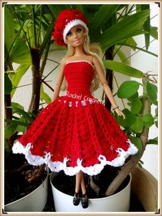 Doll Clothes - Barbie / Steffi Dress (crochet), red / white - a unique product by Anna-Tim on DaWanda - doku Crochet Doll Dress, Crochet Barbie Clothes, Doll Clothes Barbie, Crochet Doll Pattern, Barbie Dress, Barbie Clothes Patterns, Doll Dress Patterns, Clothing Patterns, Accessoires Barbie