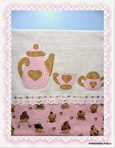 Artesanatos Ana Lu: Pano de prato Chá com Cupcakes