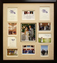 Showcase all the little details that made your big day so special in a custom made framed collage.  Wedding invites and photos created into a collage by Art and Frame Express in Edison NJ.