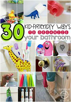 30 Kid-Friendly Ways To Organize A Bathroom Kids Bathroom Organization, Bathroom Hacks, Bathroom Kids, Daycare Organization, Small Bathroom, Household Organization, Family Bathroom, Bathroom Colors, Closet Organization