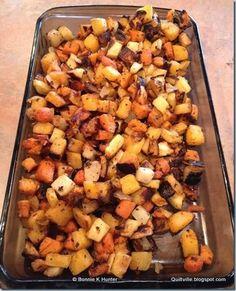 Roasted Root Veggies recipe!  YUM!!  Click through for recipe!