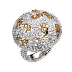 18K white gold and palladium ring with yellow and white diamond by Jye International