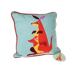 These beautifully vibrant animal themed cushions will bring comfort to your child and colour to their bedroom. In five designs to choose from: lion on a blue background, tiger on green, kangaroo on blue, pelican on a red background or crocodile on yellow, these charming cushions will be a wonderful addition to a child's bedroom or nursery. Each cushion also has a coloured pattern on the reverse side. Perfect for story time, these lovely cushions will be a favourite!