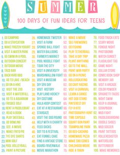 "Teen Summer Bucket List - Free Printable Summer is just around the corner. My teen is planning all kids of things but you know there is those days that come along where you hear the words ""I am bored!"". I decided before I had to hear those epic words I would make a list for my teen. However, I thought why not share this same list for a Teen Summer Bucket List with all of you. After all, some of you have teens too."