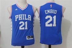 Youth Philadelphia 76ers #21 Joel Embiid New blue jerseys