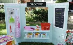 This is SO cool. A mom built a tri-fold space that can become a lemonade stand, puppet show place, grocery store, etc. all in one. And SUCH an easy building project!