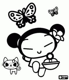 Pucca walking with her cat Yani and butterflies coloring page
