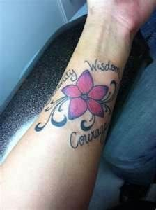 Tattoo Titled Serenity Courage Wisdom (be cute for a foot tattoo that said Hope Courage)....would be awesome for my kids names