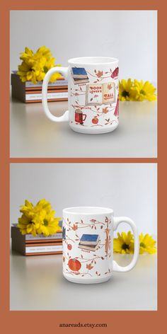 The perfect mug for a book lover who loves Fall to drink her coffee or tea from, while also enjoying a good book. Coffee K Cups, Coffee Mugs, I Shop, My Etsy Shop, Discount Coffee, Uses For Coffee Grounds, Book Lovers, Good Books, Decorative Pillows