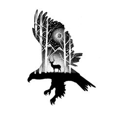 Eagle and Deer by Thiago Bianchini Art Drawings Sketches Simple, Bird Drawings, Tattoo Sketches, Native Tattoos, Eagle Tattoos, Lion Tattoo Sleeves, Sleeve Tattoos, Deer Sketch, Realistic Animal Drawings