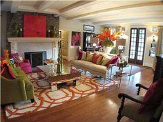 Orange Pink Green And Grey Living Room Alta Vista