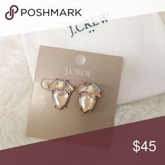 OFFER PARTY 💕J. Crew | Gem & Gold Posts J. Crew rhinestone post earrings. Gold accents with slight pink tones. Very pretty! Comes with dust bag. J. Crew Jewelry Earrings