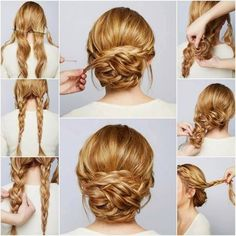 DIY Braided Chignon hair long hair braids how to diy hair hair tutorial hairstyles hair tutorials easy hairstyles - Hair Styles Up Hairstyles, Pretty Hairstyles, Hairstyle Ideas, Hairstyle Tutorials, Simple Hairstyles, Easy Wedding Hairstyles, Step By Step Hairstyles, Evening Hairstyles, Long Hair Formal Hairstyles
