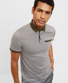 Herringbone jacquard polo shirt