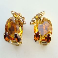 Vintage Alice Caviness Amber Topaz Rhinestone Clip Earrings