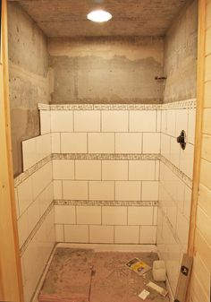 shower tile idea. I like the offset of the large squares.