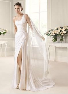 Sheath/Column One-Shoulder Court Train Chiffon Wedding Dress With Ruffle Beading Appliques Lace Split Front