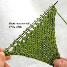 Minimalist Short Rows (side note: crochet g-string, anyone? Knitting Basics, Knitting Help, Knitting Stiches, Knitting Yarn, Knitting Projects, Crochet Stitches, Knitting Patterns, Knitting Short Rows, How To Purl Knit