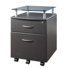 Keep your paperwork and supplies organized with the Roling & LocKing hanging-file cabinet. This two-drawer cabinet holds hanging files in the lower drawer and small objects in the upper drawer. The metal cabinet also has wheels so you can easily move it.