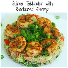 Quinoa Tabbouleh with Blackened Shrimp - A Delicious low calorie, gluten free lunch or dinner recipe. #tabbouleh #blackenedshrimp #glutenfree
