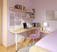 Kleines Jugendzimmer Mädchen Lila Wandstreifen Schreibtisch