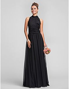 d62308bd2e9d3 Sheath Column High Neck Floor-length Cascading Ruffles Chiffon Bridesmaid  Dress Chiffon Ruffle