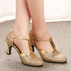 Latin dance shoes woman gold silver shoes women high heel ballroom jazz dancing shoes for women zapatos de baile latino mujer Silver Shoes Heels, Silver High Heels, Wedding Shoes Heels, Gold Pumps, Wedding Pumps, Bridal Heels, High Heel Pumps, Low Heel Shoes, Low Heels