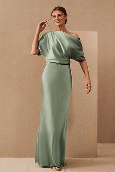 Gal Meets Glam Shiloh Off-The-Shoulder Mini Dress | Anthropologie Gala Dresses, Satin Dresses, Sequin Dress, Black Tie Wedding Guest Dress, Green Gown, Column Dress, Gal Meets Glam, Groom Dress, Special Occasion Dresses