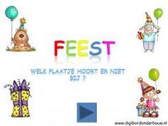 Digibordles Feest: welk plaatje hoort er niet bij? http://digibordonderbouw.nl/index.php/themas/feest/feestdigibordlessen