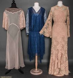 Three Lace Evening Gowns, 1928-1935, Augusta Auctions, April 8, 2015 NYC, Lot 188
