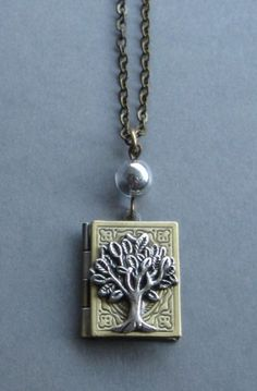 Tree of life locket necklace, book style, brass chain, bronze