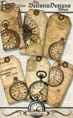 Printable Clock Tags paper crafting by VectoriaDesigns on Etsy Atc Cards, Card Tags, Gift Tags, Steampunk Crafts, Handmade Tags, Paper Tags, Vintage Tags, Collage Sheet, Altered Books