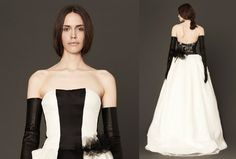 Another one of our favourites—this ivory and black strapless satin, organza and tulle gown has a hand-pieced black Chantilly lace back. @Mandy Bryant Dewey Seasons Bridal