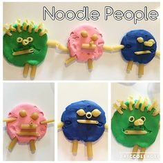 Noodle People {Bree absolutely loved this!! She wants to do it every day! Haha} . . . #toddleractivies #toddetactivity #toddlerfinemotorakills #todderfun #toddletplay #looseparts #SKC_looseparts #playdoughfun #playdoughactivity #noodleplay